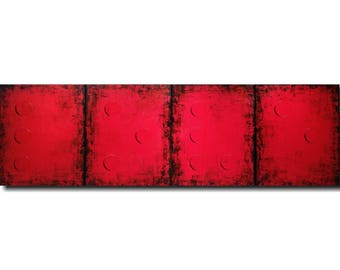 large abstract painting original red paintings by jmjartstudio 20 x 64 braille artwork--Sale oil industrial gift Large  wall art
