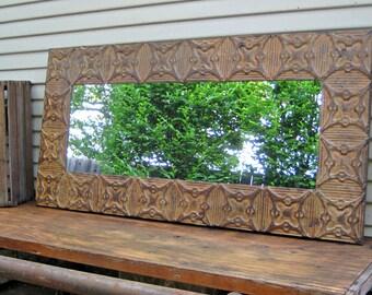 Old Ceiling Tin Tile Mirror.  Rustic mirror. Architectural salvage. Rusty primitive farmhouse mirror.  Pressed tin mirror. Wall mirror