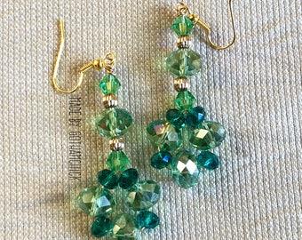 Emerald crystal shimmer earrings