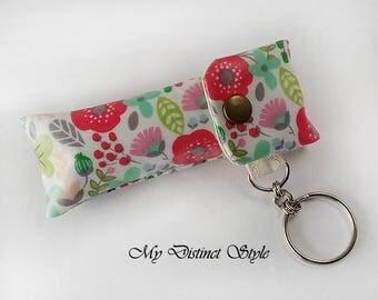 CHOOSE ONE - Laminated Cotton Fabric Lip Balm Holder with Keyring, Lip Balm Cozy, Chapstick Holder