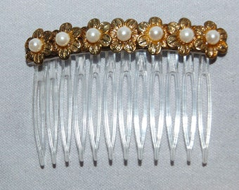 Hair Clip Comb, pearls gold flowers, Ornament Mantilla, Vintage old jewelry