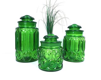 green canister sets kitchen green glass canister etsy 3972