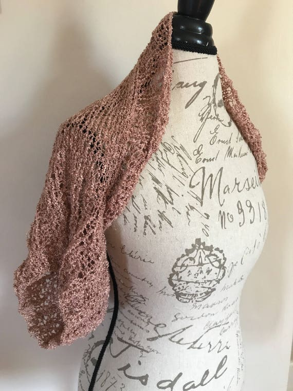 Hand knit shimmery copper stylish bolero shrug