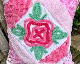 Pink White Vintage Chenille Patchwork Pillow Handmade Doodaba Lake Patio Baby