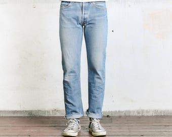 "Vintage Levis 501 Jeans . Worn In Faded Size 31"" Jeans Light Blue Denim Distressed W31 Stonewashed Denim Straight Leg Dad  Boyfriend Jeans"