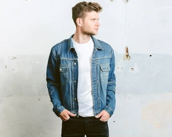 Vintage Jeans Jacket . Mens 90s Dark WASH Denim Trucker Jacket Pleated Denim Jacket Distressed Stonewashed Blue Jacket . size Large