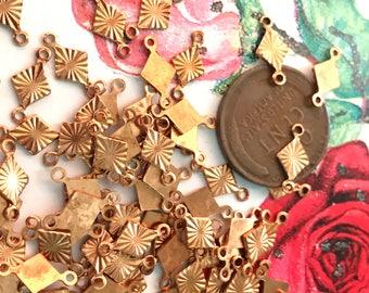 12 Vintage Diamond Connectors, copper connectors,Etched connectors,Etched copper,two sided loops, vintage connectors,vintage findings #1271F