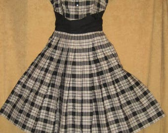 40s Day Dress Plaid Full Skirt Small Vintage