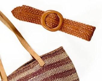 Woven Leather Belt / Wide Braided Belt / Boho Chic