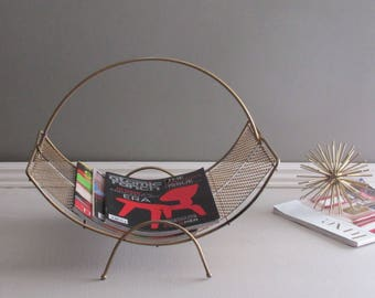 MCM- mid century magazine rack - original bronze finish