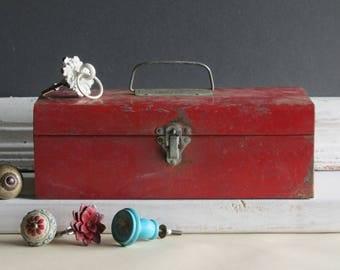Vintage red metal box - storage -  home decor - hobby - craft supplies