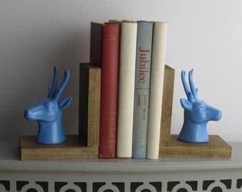 Reindeer Blue - handcrafted deer bookends - Deer - antlers - quirky animals - bookshelf decor