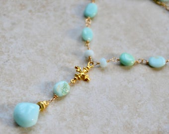 Blue Opal Delicate Gold Cross Necklace October Birthstone