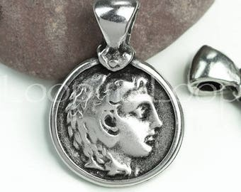 25%OFF Alexander The Great Pendant Antique Silver Ancient Greek Coin replica charm double sided w bail Mykonos Casting Round 30X20mm (P141)