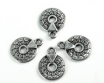 25%OFF Small Round charms Antique silver black patina charm Bohemian boho ethnic high quality European hypoallergenic zamak casting 4pcs