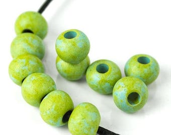 25%OFF Mykonos Beads Round Beads 6 Irregular Speckled apple green sky blue mix 8mm Greek Ceramic rounds Ball Earthy Beads Spring Jewelry DIY