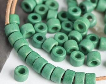 25%OFF Mykonos Greek Ceramic bead Earthy seafoam green Mini Tube 6X4mm -- 30 Beads Autumn colors craft jewelry supplies DIY MB15