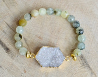 Prehnite and Druzy Gemstone Bracelet