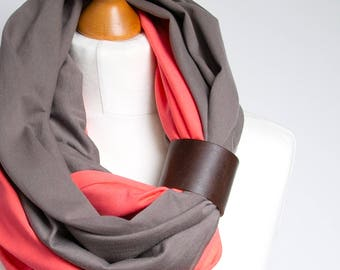 Infinity scarf with leather cuff, infinity scarves, lightweight scarf made of two scarves, beige and coral scarf with cuff, cotton scarf