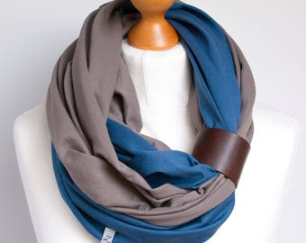 Scarf with leather cuff, infinity scarf, lightweight scarf made of two scarves, beige and coral scarf with cuff, cotton scarf