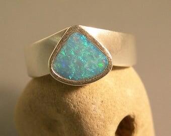 Blue Green Australian Boulder Opal Sterling Silver