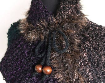 Outlander Inspired Black Brown Green Purple Color Chunky Claire's Capelet Cape Collar Faux Fir Trim Cowl Gaiter with Cord Ties Wooden Beads