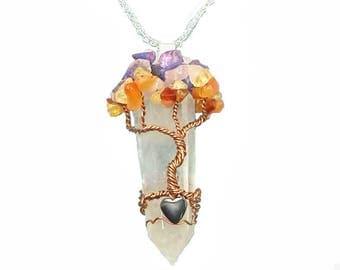 Chakra Tree of Life / Quartz  Pendant/ Crystal Pendant/ Healing Crystals/ Gemstone Tree/ Yoga Birthday/ Chakra Pendant/ Gift Ideas for Her/