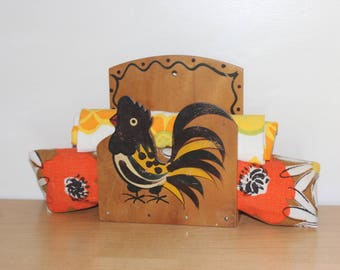 1950's Woodpecker Woodware Rooster Napkin/Letter/Towel Holder Hand Painted Black Yellow