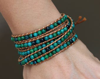 Men Chrysocolla 5x Beaded Wrap Bracelet