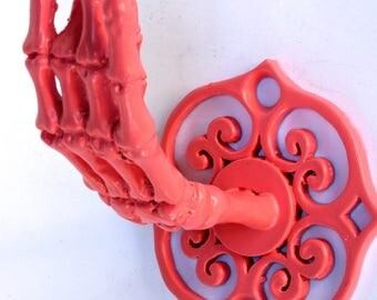 Pink Skeleton Hand Wall Hook Coat Rack Curtain  Rod Holder Jewelry Rack Made in NYC