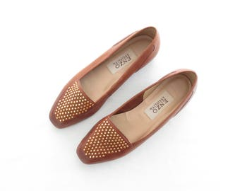 studded leather flats * vintage skimmers * 90s loafers * enzo angiolini * gold studs * us 7.5 | euro 38