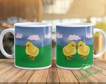 Little Chicken Mug - Personalized Gift for Twins, Siblings, Big Brother or Sister - Kids Drinking Cup - Cute Little Hen Mug for Children