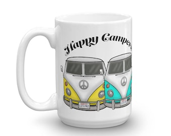 Happy Campers Mug - VW Camper Bus Coffee Mug - Volkswagen Lover Gift - Classic Car Lover Gift Idea - Couples Mug - Personalized Car Mug