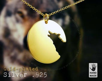 Lone Wolf Handmade Goldplated Sterling Silver .925 Necklace in a gift box