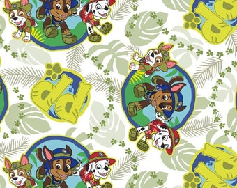 Paw Patrol Jungle Patrol Pups in White- Cotton Print Fabric by David Textiles - you choose the cut