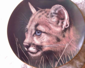 """Collector Plate, 'Cougar Cub', Limited Edition Hand Painted Plate, 1990, """"Cubs of the Big Cats Plate Collection"""""""