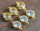 9pcs Bezel Gemstone Connector 9x5mm, 24K Gold plated Brass, Clear Zircon Round Connector, Lead Nickel Free (GB-011-SALE)