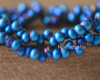 Frosted Seed Crystal Glass Beads 6mm, Metallic Blue Matte (GM018-1)/ 95 beads full strand
