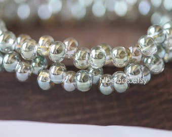 Crystal Glass Smooth Seed Beads 6mm, Sparkly Olive Green Olivine (GM018-6)/ 95 beads full strand