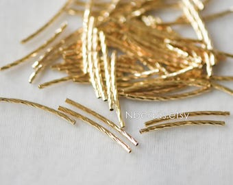 20pcs Gold plated Brass Tube Beads,  25mm Long by 1.4mm Wide, Metal Tube Spacer Beads (GB-046-1)