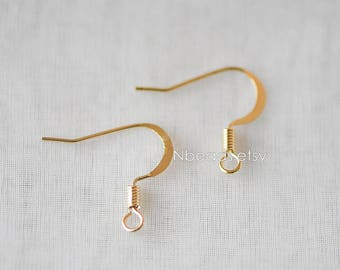 Gold Earring Hooks, 24K Gold Plated Brass Earwires, Lead Nickel Free (GB-141)/ 20pcs =10 pairs