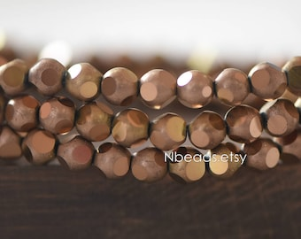 Frosted Faceted Round Crystal Glass beads 6mm, Matte Metallic Antique Copper (GM023-4)/ 100 beads