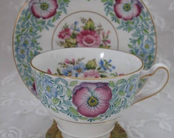 Rosina Fine Bone China, Vintage Teacup and Saucer in Blues and Greens, Multi Floral, Made in England, ECS
