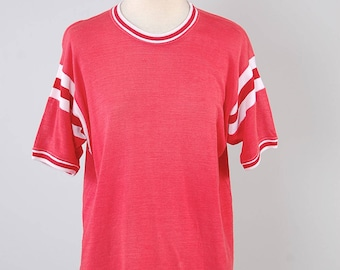 Vintage 50s red athletic jersey t shirt / 1950s sun faded t shirt / Vintage football jersey