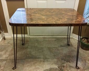 Vintage Retro, Mid Century, Funky, Formica Table With Iron Hair Pin Legs
