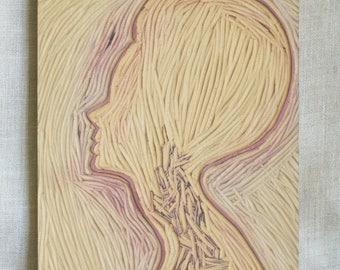 Vintage Female Portrait, Woodcut, Carving, Hand Carved Portrait, Printers Block, Handmade, Wall Decor, Art Supplies, Printing Making Plate