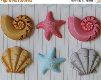 SALE Seashell Buttons, Carded Buttons by Buttons Galore, 6 Shank Back Buttons