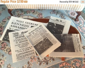 SALE Miniature Newspapers, Vintage Newspapers, Dollhouse Miniatures, 1:12 Scale, 5 Pieces, Mini Papers, Dollhouse Accessories, Decor, Mini N