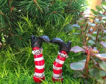 SALE Mini Witch Leg Picks, Home and Garden Decor, Miniature Gardening Accessory, Halloween Decor, Crafts, Mini Garden Picks