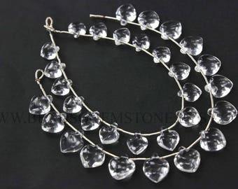 Gemstone Beads, Crystal Quartz Smooth Apple Shape (Quality AA) / 9 to 12 mm / 18 cm / CR-099